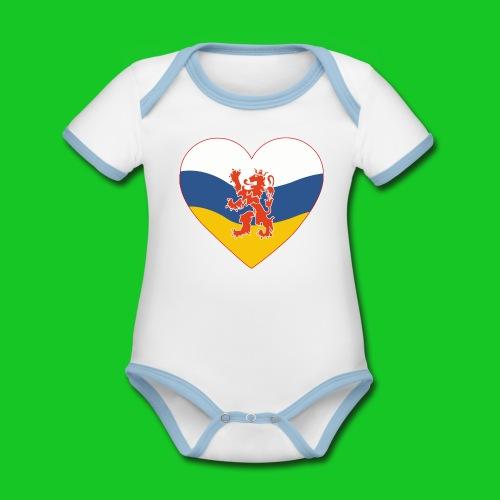 Love Limburg Hart rompertje - Baby contrasterend bio-rompertje met korte mouwen