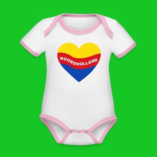 Love Noord Holland Hart rompertje - Baby contrasterend bio-rompertje met korte mouwen