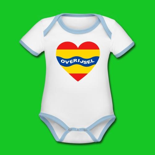 Love Overijssel Hart rompertje - Baby contrasterend bio-rompertje met korte mouwen
