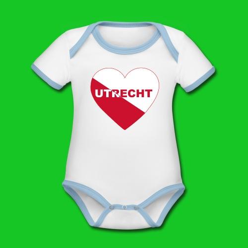 Love Utrecht Hart stad rompertje - Baby contrasterend bio-rompertje met korte mouwen