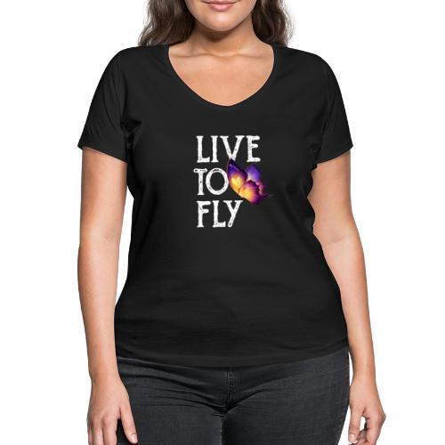 live to fly - T-shirt ecologica da donna con scollo a V di Stanley & Stella