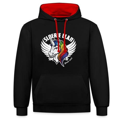 Sexy Sleek SloerieClan Logo on Black Contrast Hoodie - Contrast Colour Hoodie