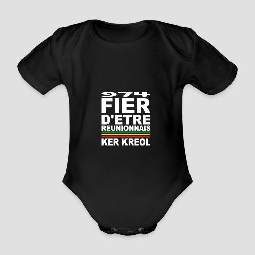 Body bébé bio manches courtes Fier D'être Réunionnais - 974 - Body bébé bio manches courtes