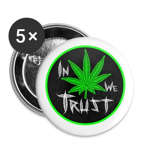 In Weed We Trust Button - Paquete de 5 chapas pequeñas (25 mm)