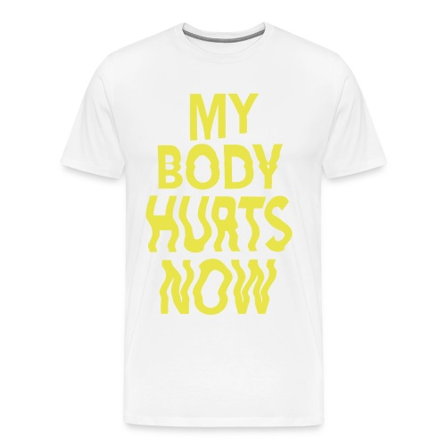Body white tee yellow print - Men's Premium T-Shirt