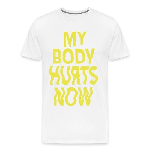 Body white tee yellow print - Men's Premium T-Shirt