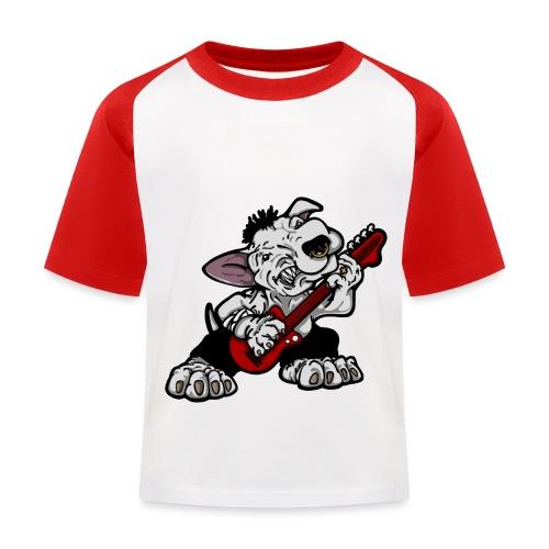 Bass Playing Bull Terrier - Kids' Baseball T-Shirt