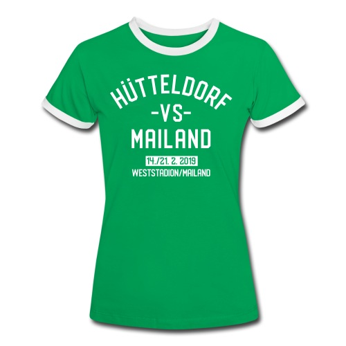 Hütteldorf VS Mailand Februar 2019 Damenkontrastshirt - Frauen Kontrast-T-Shirt
