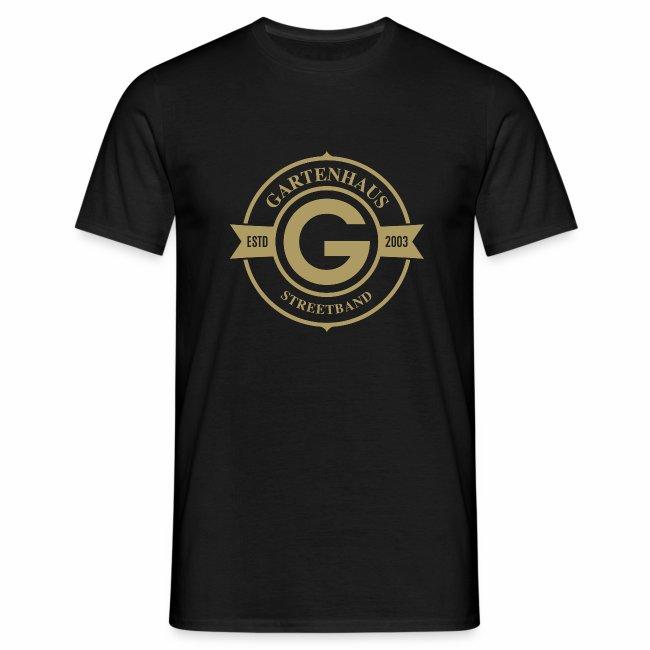 Gartenhaus T-Shirt Men / goldenfarbiges Logo