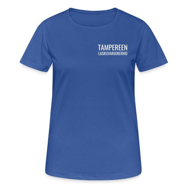 Tekninen t-paita, valkonen painatus, naisten malli