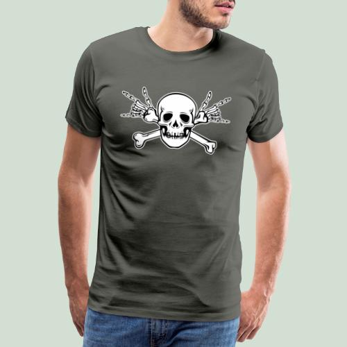 Deaf Skull with ILY Handsign - Männer Premium T-Shirt