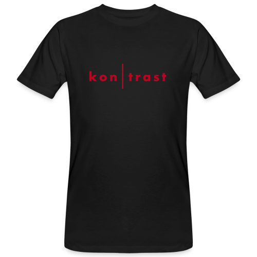 kontrast Jungs-Bio-T-Shirt kon|trast-Schriftzug mit rotem Flockdruck (samtig) auf Vorderseite - Männer Bio-T-Shirt