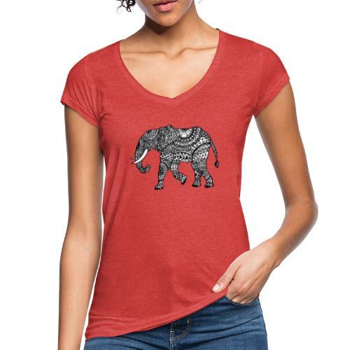 lässiges Damen-Shirt mit Elefant  - Frauen Vintage T-Shirt