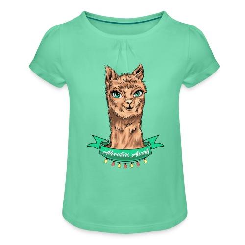 T-Shirt - Alpaka Adventure (Kidies) - Mädchen-T-Shirt mit Raffungen
