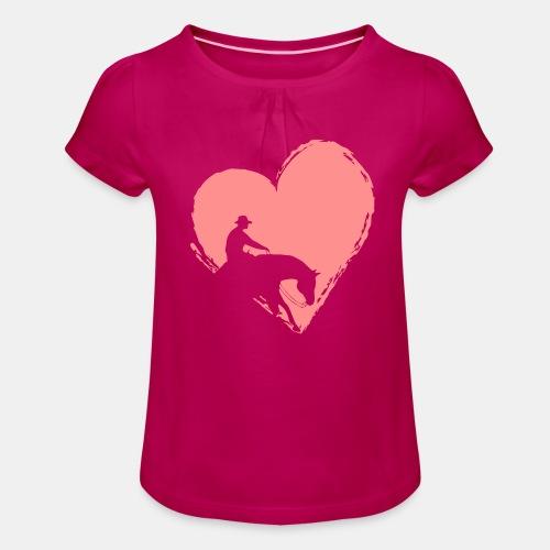 Reining mit Herz Mädchen Shirt - Mädchen-T-Shirt mit Raffungen