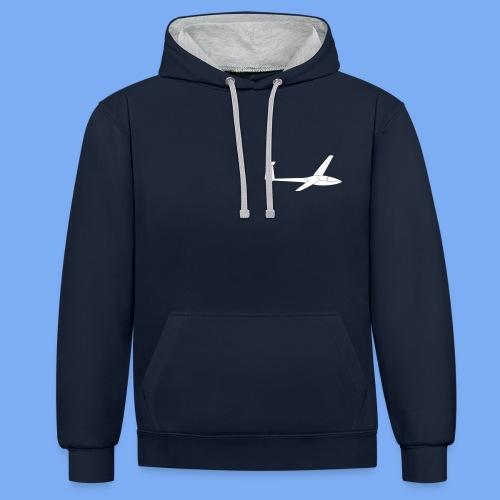 Glasflügel Kestrel Segelflugzeug Segelflieger Geschenk Tshirt - Contrast Colour Hoodie