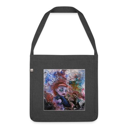 Popsurreal Art - Cyberpunk & Black Cat - Tasche - Schultertasche aus Recycling-Material