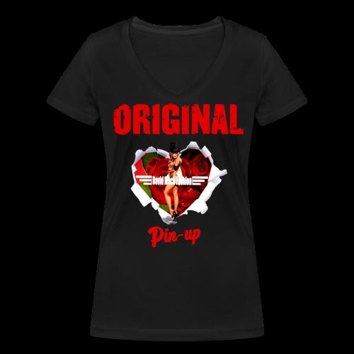 T-shirt Femme Original Pin - Up - T-shirt bio col V Stanley & Stella Femme