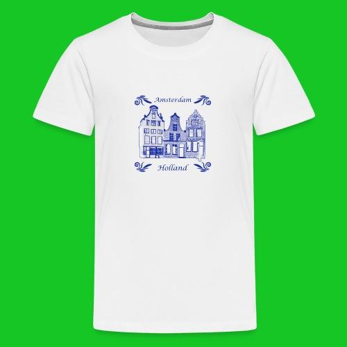 Grachtenpanden Delfts Blauw teenager t-shirt - Teenager Premium T-shirt