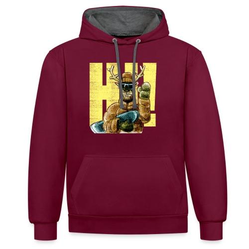 Hi! - Kontrast-Hoodie