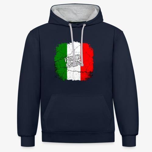 Kontrast-Hoodie Proud Italian Stolzer Italiener Italienerin - Kontrast-Hoodie
