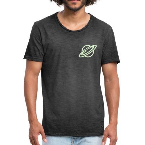 Saturn leuchtet im Dunkeln - Männer Vintage T-Shirt