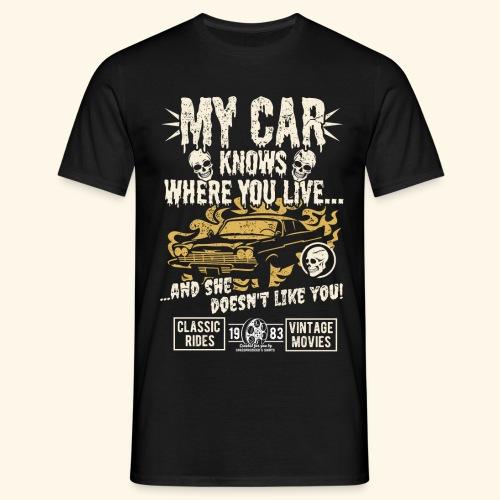 Horror Film Fan T Shirt My Car Knows - Männer T-Shirt