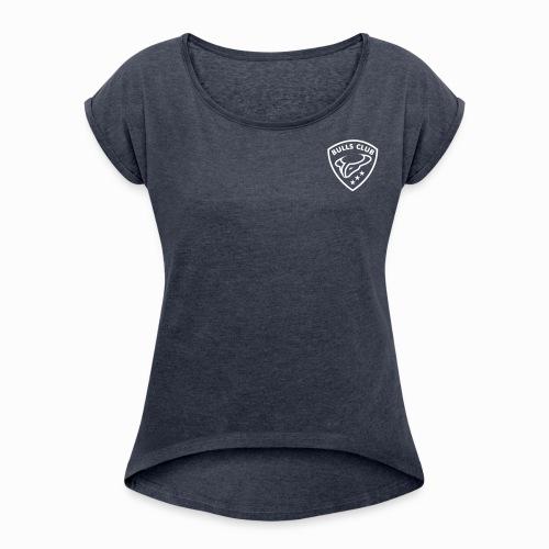 BULLS CLUB - Frauen T-Shirt mit gerollten Ärmeln - blau - Frauen T-Shirt mit gerollten Ärmeln