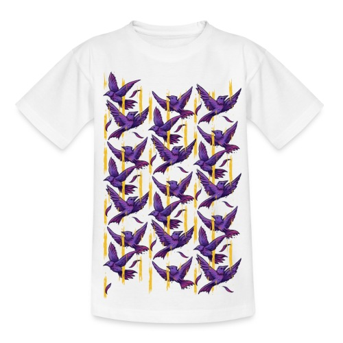 Purple Birds Pattern - Teenage T-Shirt