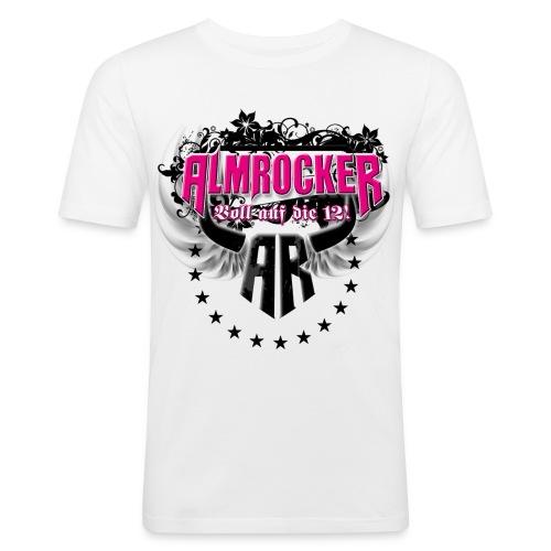 AlmRocker Kreis Logo Slim Fit mit Logos - Männer Slim Fit T-Shirt