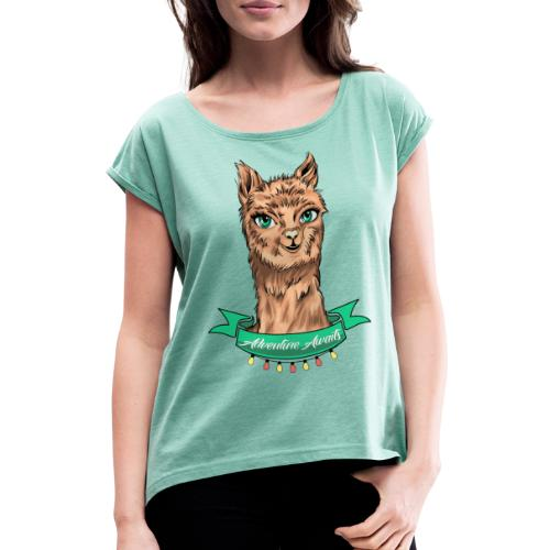 T-Shirt - Love Nature - Frauen T-Shirt mit gerollten Ärmeln