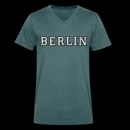 Berlin Vintage (Schwarz/Weiß) - Männer Bio-T-Shirt mit V-Ausschnitt von Stanley & Stella