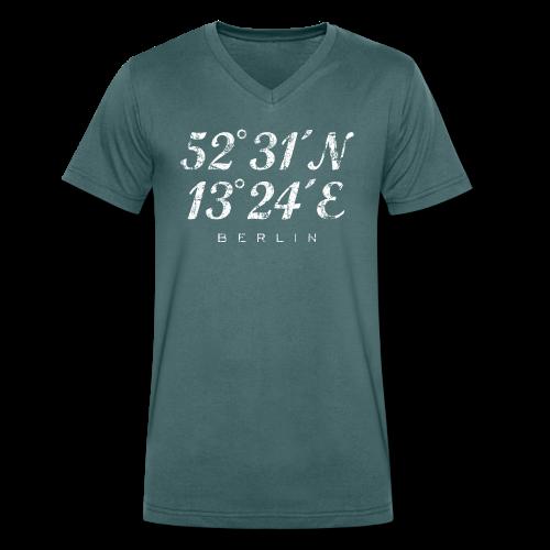 Berliner Koordinaten (Vintage/Weiß) Berlin - Männer Bio-T-Shirt mit V-Ausschnitt von Stanley & Stella