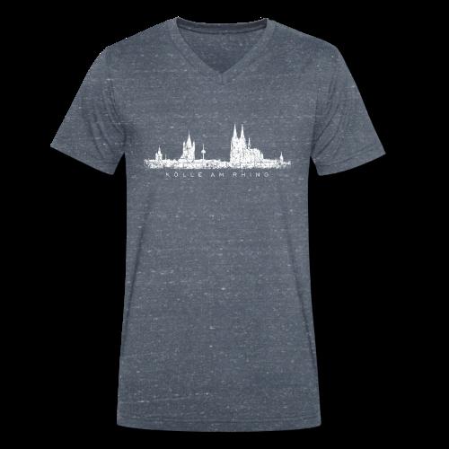 Kölle am Rhing Skyline (Vintage Weiß) Köln am Rhein - Männer Bio-T-Shirt mit V-Ausschnitt von Stanley & Stella