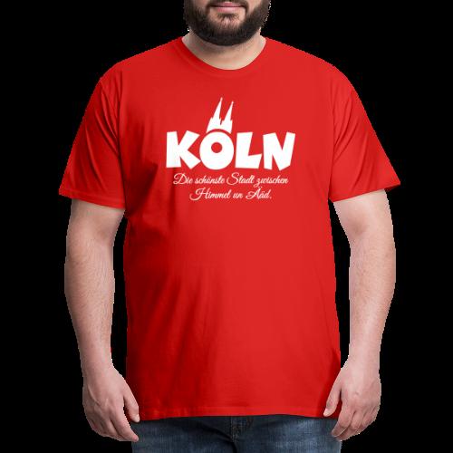 Köln, die schönste Stadt zwischen Himmel un Ääd (Weiß) - Männer Premium T-Shirt