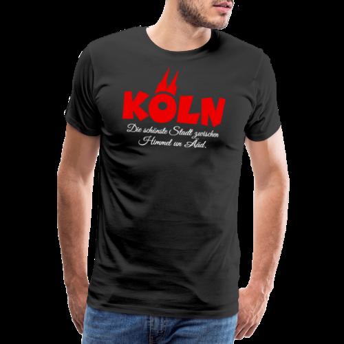 Köln, die schönste Stadt zwischen Himmel un Ääd (Schwarz/Rot) - Männer Premium T-Shirt