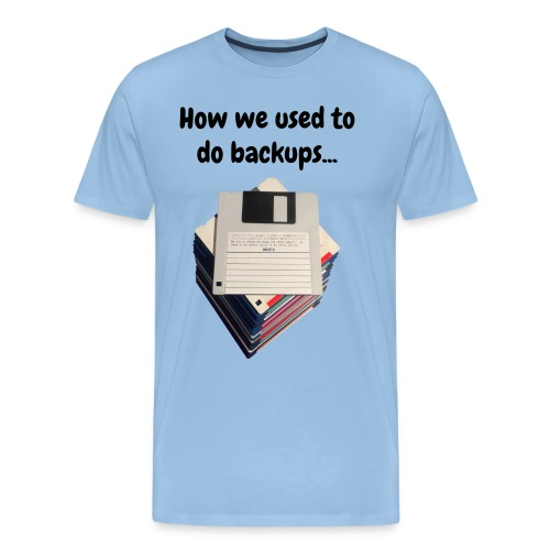 How we used to do backups / T-shirt with a stack of 3.5 floppy disks - Men's Premium T-Shirt