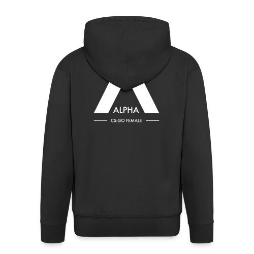 Alpha Ziphoodie - Vitt tryck - Premium-Luvjacka herr