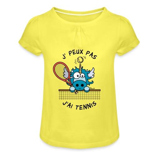 T-shirt enfant, Je peux pas j'ai Tennis - T-shirt à fronces au col Fille