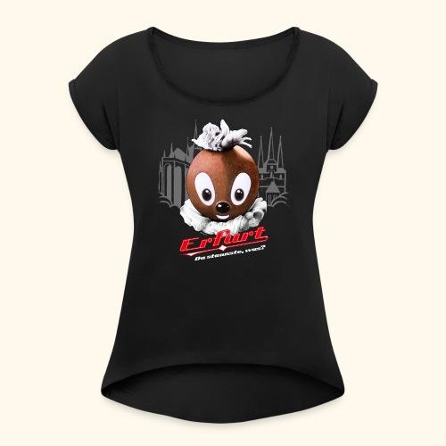 Frauen T-Shirt mit gerollten Ärmeln Pittiplatsch Erfurt - Frauen T-Shirt mit gerollten Ärmeln