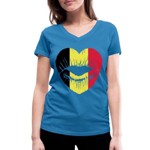 T SHIRT FEMME BOUCHE BELGE - T-shirt bio col V Stanley & Stella Femme