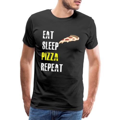 T SHIRT HOMME EAT SLEEP PIZZA REPEAT - T-shirt Premium Homme