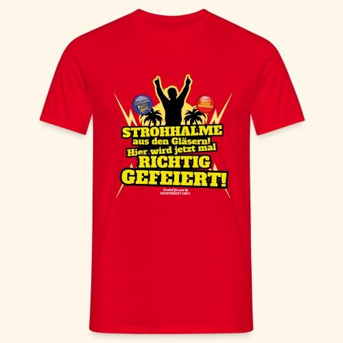 Party Crew T Shirt Strohhalm   Spruch - Männer T-Shirt