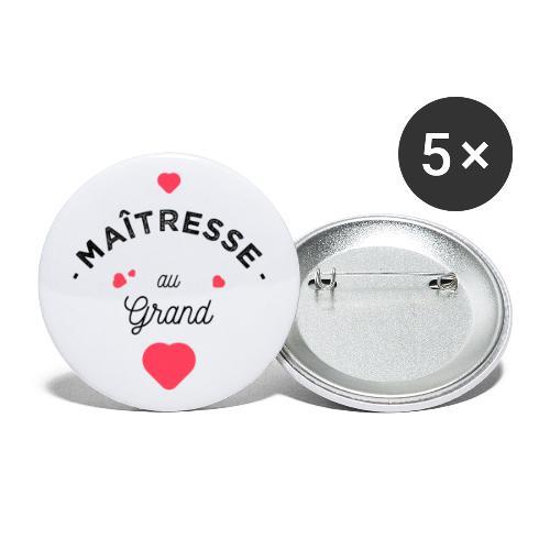 Maitresse au grand coeur Badges - Lot de 5 petits badges (25 mm)
