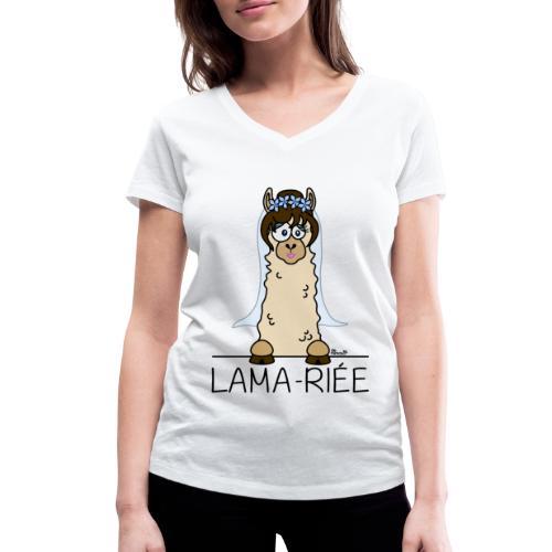 T-shirt Bio Lama riée, Mariage, EVJF, mariee - T-shirt bio col V Stanley & Stella Femme