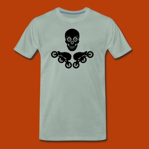 Skating Skull and Speedskates 125mm, Black - Männer Premium T-Shirt