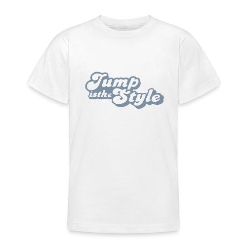 Teenager T-shirt - kindershirt jumpisthestyle zilver LET OP: kindershirts vallen klein uit, gelieve 1 maat groter te nemen.