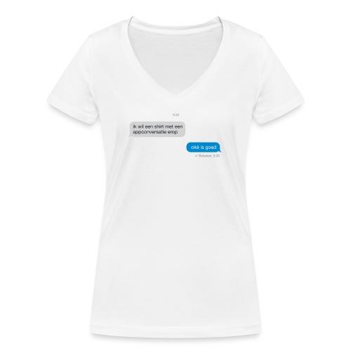 Appconversatie vrouwen v-hals bio - Vrouwen bio T-shirt met V-hals van Stanley & Stella
