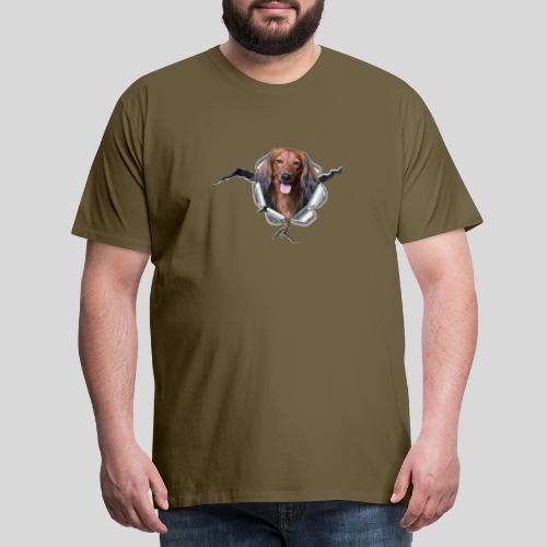 Langhaar Dackel im *Metall-Loch* - Männer Premium T-Shirt