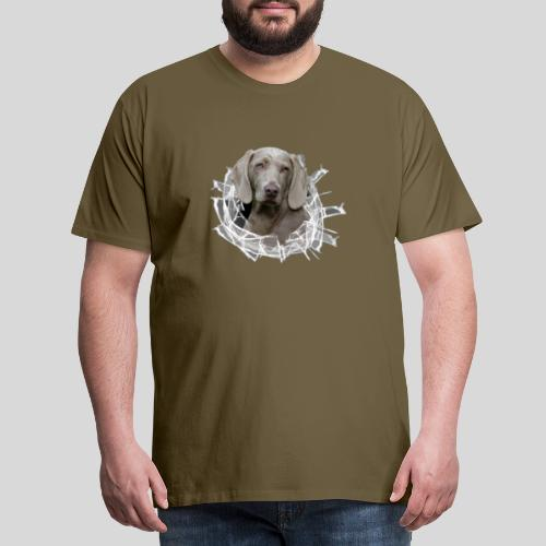Weimaraner im *Glas-Loch* - Männer Premium T-Shirt